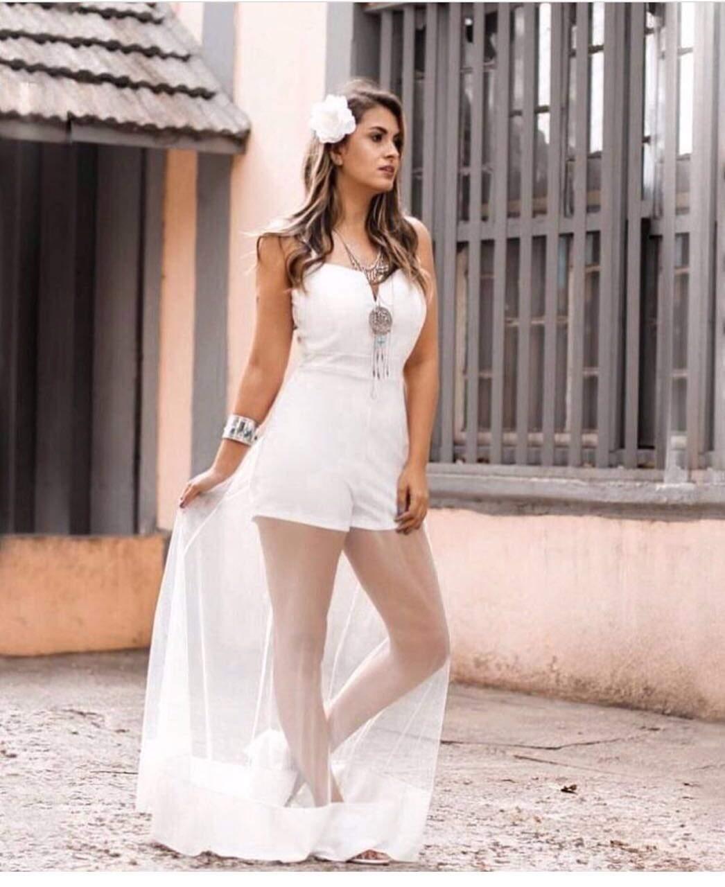 1bc3ee2b2 Vestido com macaquinho longo em tule - Mon Cherri Moda Feminina