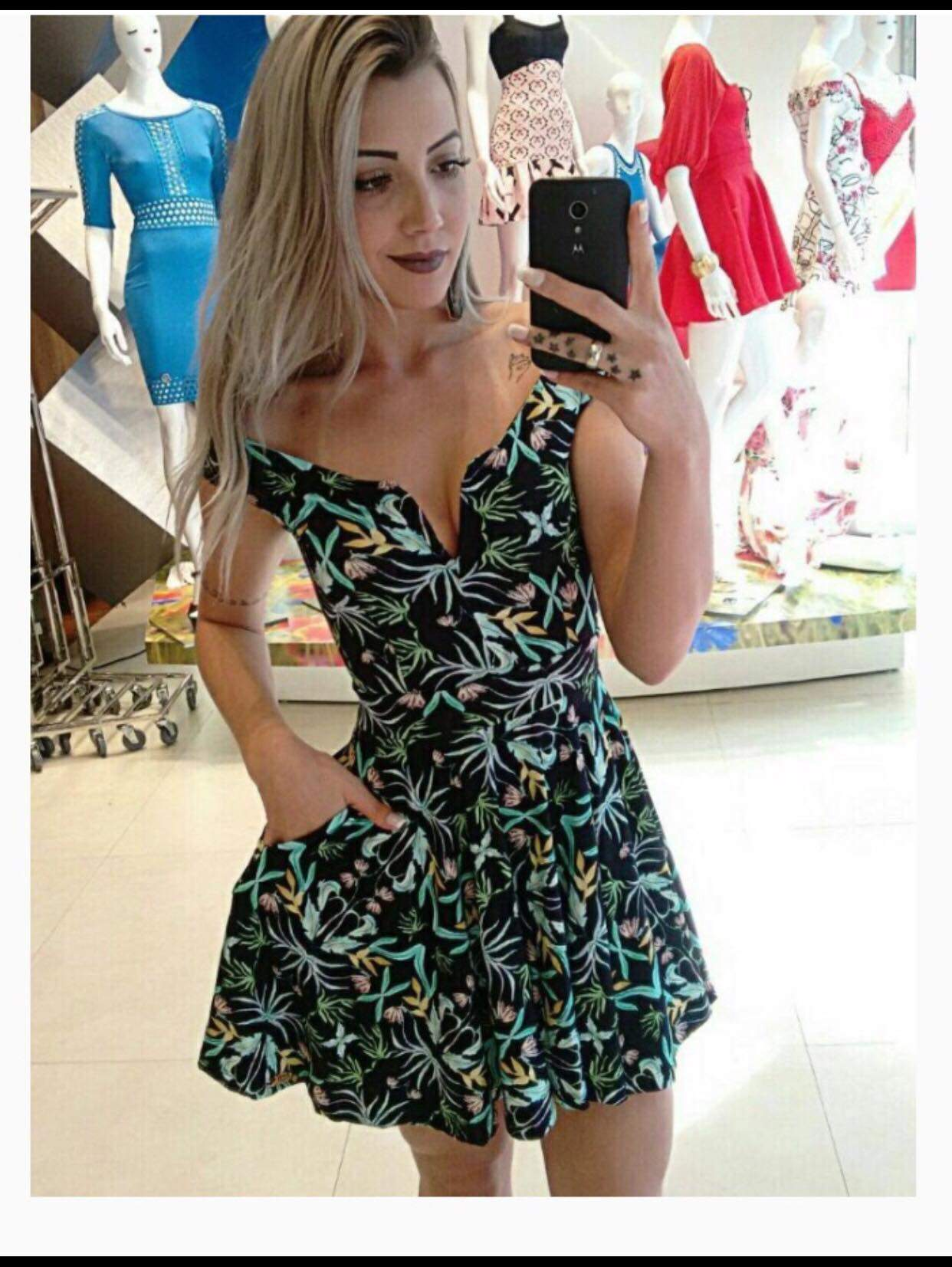 0e6f7b9a17 vestido estampado rodado decote coracao - Mon Cherri Moda Feminina